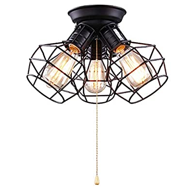LALUZ Wire Cage Ceiling Lights 3-light Pull String Flush Mount Ceiling Light
