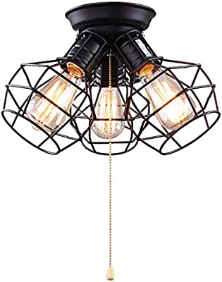 Enjoyable Laluz 3 Light Wire Cage Ceiling Lighting With Pull String Industry Wiring 101 Capemaxxcnl