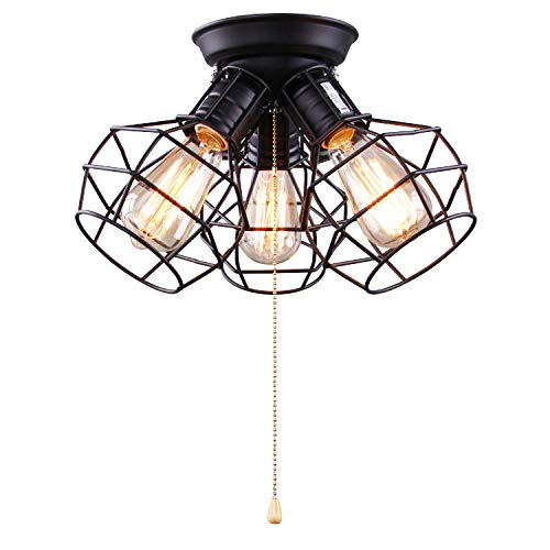 (LALUZ 3-Light Wire Cage Ceiling Lighting with Pull String, Industry Close to Ceiling Light Fixture)