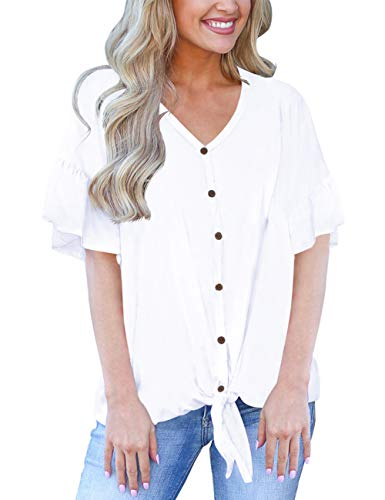 (Button Down Shirts for Woman Loose Casual Womens Tops Cute Baggy Blouses White S)