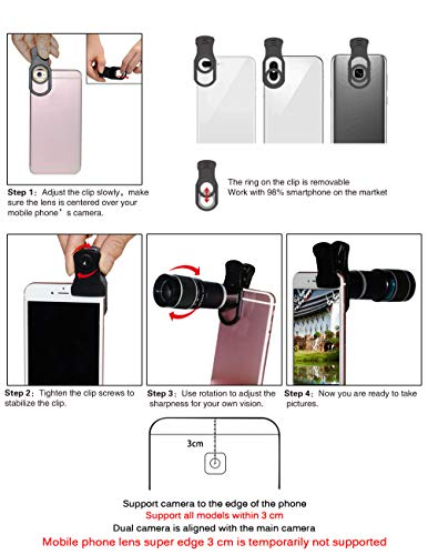 5-in-1 phone lens, 20x telephoto lens, 0.63x wide-angle lens, macro lens, fisheye lens, eye mask, Telescope Camera Mobile Zoom lens compatible iPhone Samsung Galaxy Huawei and most Android smartphones by Bostionye (Image #7)