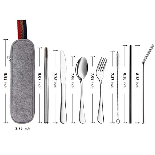 DMight Reusable Utensils with Case 7 Pieces Portable Silverware Set with Anti-Rust Stainless Steel Knife Fork Spoon Chopsticks Straws, Travel Cutlery Set, Dishwasher Safe
