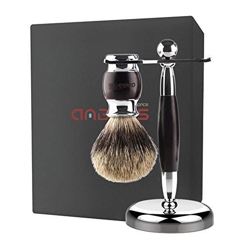 Shaving Brush Set, Best Badger Hair Shaving Brush and Stand Kit, Wood Alloy Long Handle and Chrome Holder for Double Edge Safety Razor Shaving Razor Men Gift Idea by Anbbas ()