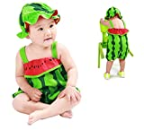 2pcs Newborn Baby Jumpsuit, Boy Girls Cute Strap Rompers Cartoon Fruit Tops Hat For 0-2yesars Hot Sale ! (18-24 Months, Green)