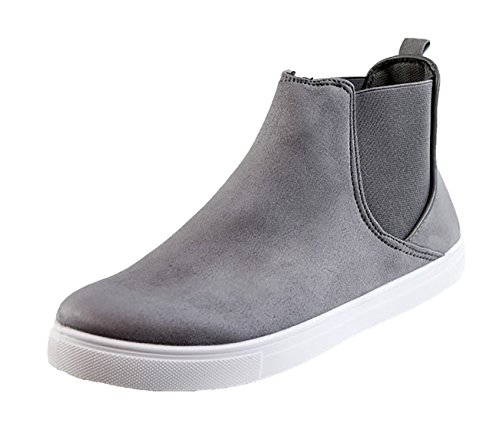 New Womens Casual High Top Sneakers Ankle Boots Trainers Comfy Flat Shoes Grey HBji9nIH