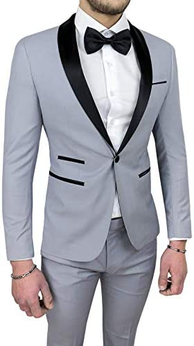 Abito Smoking Uomo Sartoriale Raso Nero Lucido Tight Vestito Elegante Cerimonia