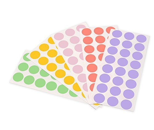 ChromaLabel 1/2 Inch Round Color-Coding Labels on Sheets | 5 Assorted Colors | 1,200/Variety Pack (Pastel)