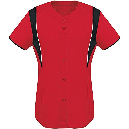 High Five Faux Front Jersey - Women's,Scarlet/Black/White,Small (Performance Button Front Sleeveless Jersey)