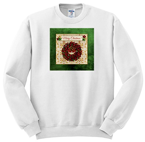Beverly Turner Christmas Design - Holiday Red and Green Wreath, Bells, Holly Background, Merry Christmas - Sweatshirts - Adult Sweatshirt Small (SS_267926_1)