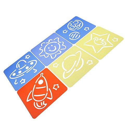 Baosity 6個入りセット DIY 工芸品 描画 絵画テンプレート ステンシルルーラー ギフト おもちゃ