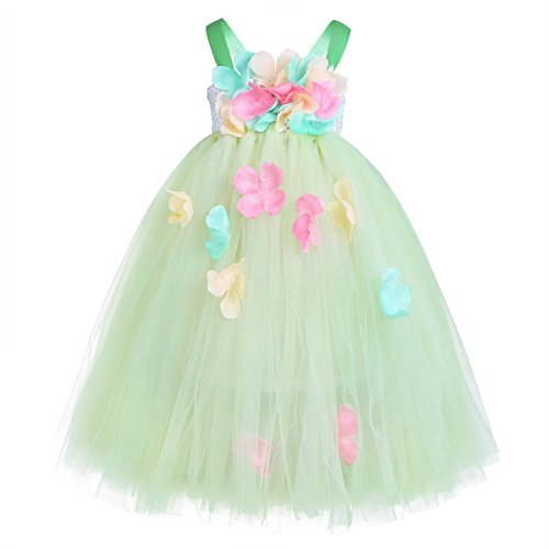 ble Straps Mesh Petals Flower Girl Dress Fairy Princess Pageant Wedding Party Prom Ball Gown Green 2-3 (Fairy Petals)