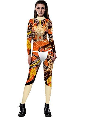 URVIP Women Halloween Skeleton Costume Stretch Skinny Catsuit Jumpsuit Bodysuit BAX-038 M]()