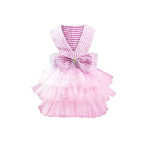 (Howstar Girl Dog Stripe Print Dress Clothes Tutu Dresses Pet Cat Puppy Costumes Apparel (S, Pink))