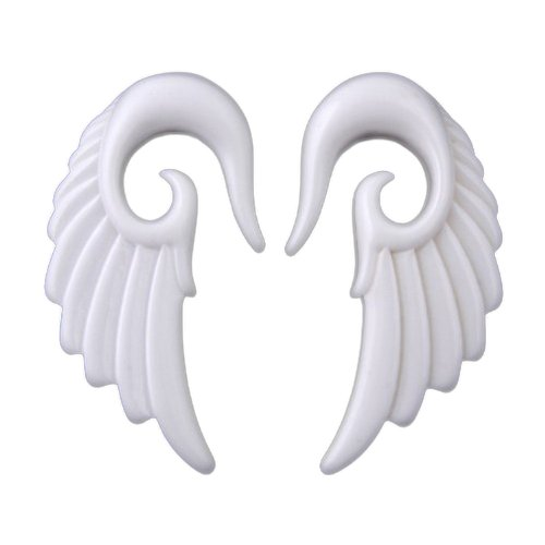 JewelryVolt Pair White Acrylic Angel Wing Design Ear Taper Plugs Gauges - 4G by JewelryVolt