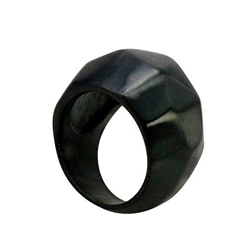 Civetman Titanium Steel Ring for Men's Ring Black Multilateral Triangular Cutting Fashion Shape