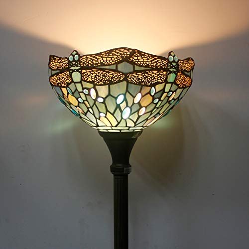 Tiffany Style Torchiere Light Floor Standing Lamp Wide 12 Tall 66 Inch Sea Blue Stained Glass Crystal Bead Dragonfly Lampshade for Living Room Bedroom Antique Table Set S147 WERFACTORY by WERFACTORY (Image #5)