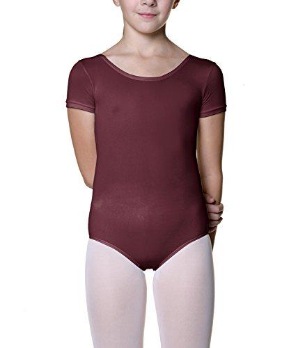 Danskin Girls' Short Sleeve Leotard (Large (12-14), Dark - Danskin Sleeve Short Leotard