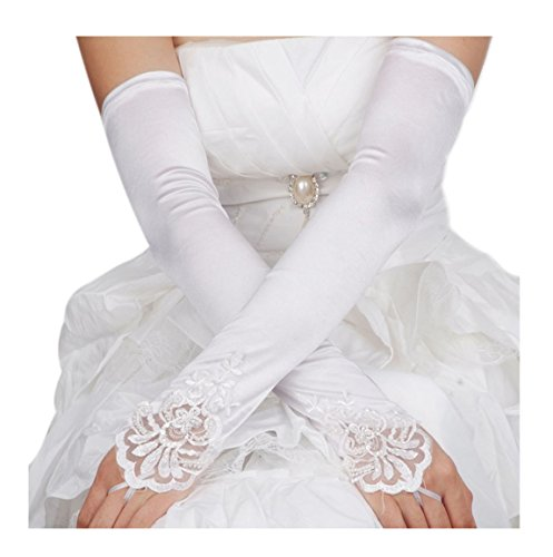 [Wedding Gloves, Fashion Evening Prom Pageant Fingerless White Lace Long Satin Gloves] (Hen Night Costume Accessories)
