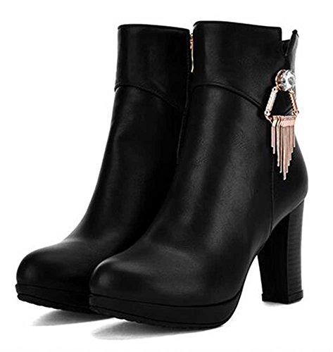 Chfso Kvinna Moderiktiga Solid Rund Tå Hängande Zipper Höga Chunky Klack Boots Svart