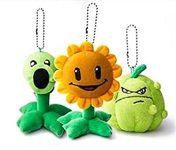 Plantas v.s. zombies 3pcs peluches guisantes girasol llavero muñeca creativo auto joyería coche llavero cumpleaños regalo