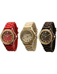 Women's CZ Crystal Rhinestones Face Bling 3-Piece Red/Beige/Brown with Gold Tone Platinum Silicone Rubber Jelly Bezel Watch