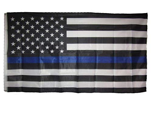 ALBATROS 3 ft x 5 ft USA Police Thin Blue Line American Knitted Nylon Premium Flag for Home and Parades, Official Party, All Weather Indoors Outdoors