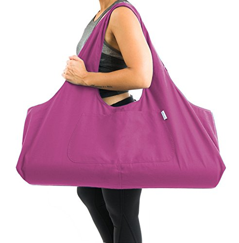 Yogiii Large Yoga Mat Bag | The Original YogiiiTotePRO | Large Yoga Mat Tote Sling Carrier with Side Pocket | Fits Most Size Mats (Orchid Pink)