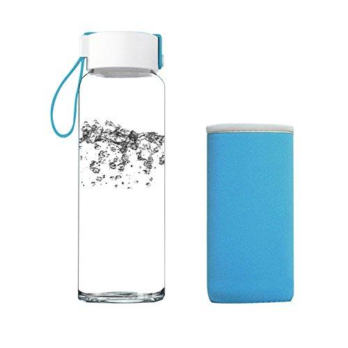 Just Life 480ml Bpa-freien Trinkflasche Glas Outdoortrinkflasche mit Schutz (Blau)