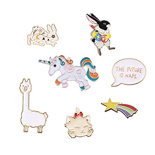 MJartoria 6/7/8PCS Cute Pins for Backpack-Cartoon Earth Bike Little Girl Enamel Cool Brooch Pin Badges Set for Backpack Clothes Bags (Rabbit-7PCS)