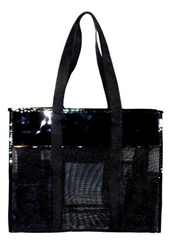 Mesh Shopper Utility Beach Bag Zipper Organizing Tote bag (Black) ()