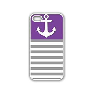 Anchor Purple & Grey Stripes White iPhone 5 Case - For iPhone 5/5G - Designer PC Case