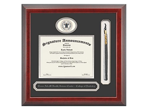 Signature Announcements Texas-a&M-Health-Science-Center-Baylor-College-of-Dentistry Undergraduate, Graduate Sculpted Foil Seal, Name & Tassel Diploma Frame, 23'' x 24'', Cherry by Signature Announcements (Image #3)