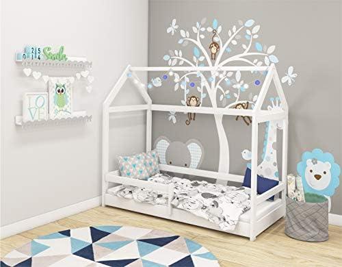 Lit enfant Bébé Maison Pine NATUREL 140x70 160x80 180x80 200x90 ACMA