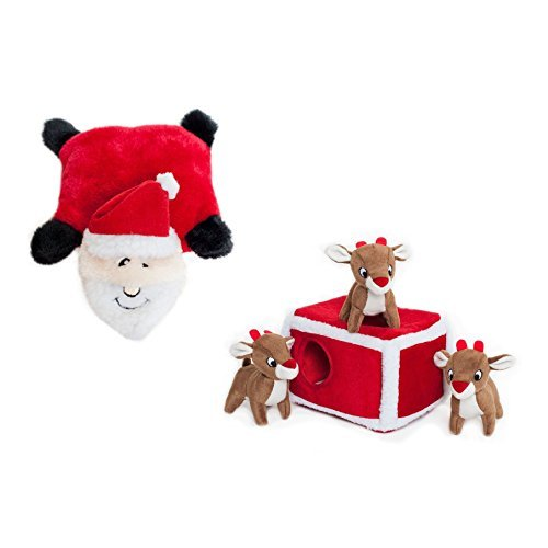 ZippyPaws Holiday Reindeer Pen Hide and Seek Dog Toy and Squ