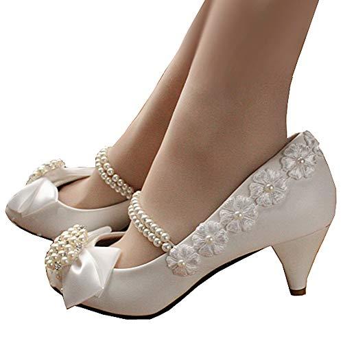 getmorebeauty Women's Pearls Lace Weave Flower Kitten Heel Wedding Shoes 8 B(M) US White