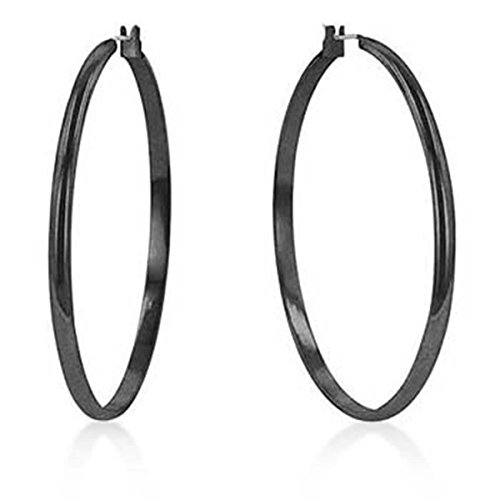 Large Shiny Metal Classic Hoop Lever Back Earrings, Black Colored from JGOODIN