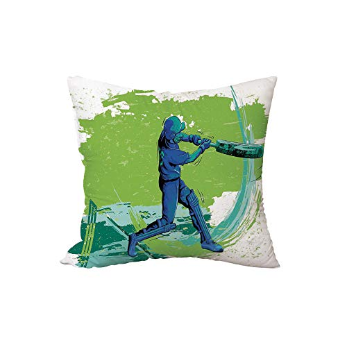 (Polyester Throw Pillow Cushion,Sports,Cricket Player Pitching Win Game Champion Team Paintbrush Effect,Navy Blue Turquoise Lime Green,17.7x17.7Inches,for Sofa Bedroom Car Decorate)