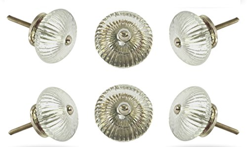 Set of 6 Ribbed Round Glass Knob White Kitchen Cabinet Cupboard Door Knobs Dressser Wardrobe and Drawer Pull By Trinca-Ferro (15 White Ribbed Glass)