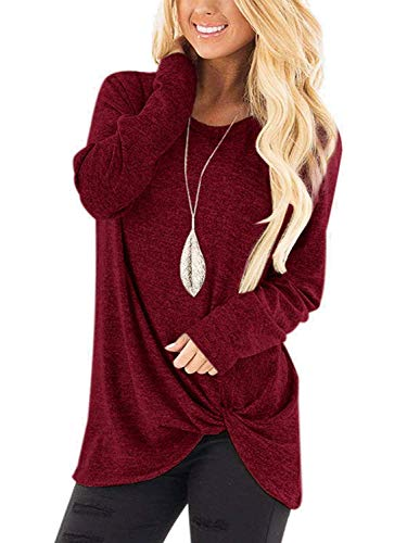 SAMPEEL Women's Basic Long Sleeve Shirt Leggings Casual Tie Knot Twist Tunic Tops Burgundy - Cloth Knot Womens