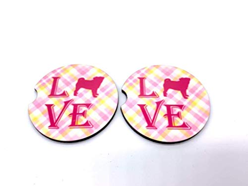 (Pug Love Pink Plaid Car Coasters Sandstone Set of 2)