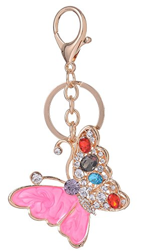 Purse Pink Enameled (Giftale Enameled Butterfly Handbag Charms Keychain for Women Purse Accessories,#526-8B)