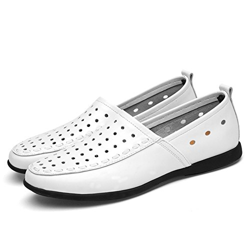 Style Genuino 41 de Hombres Plantilla Breathable Mocasines White de tamaño los Suede Cuero Slip on Color EU Loafer w6AxEg