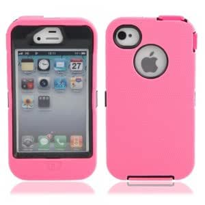 Robot Style Protective Plastic + Silicone Case for iPhone 4/4S Black + Pink