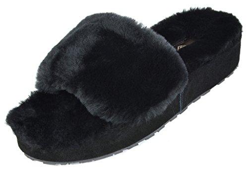 Droom Paren Dames Bliz Schapenvacht Bont Muilezels Pluizig Comfortabele Pantoffels Zwart -01