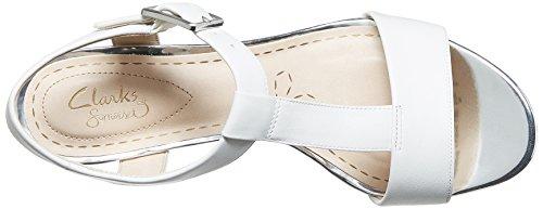 Clarks Smart Deva - Sandalias de tobillo Mujer Plata (White/Silver Lea)