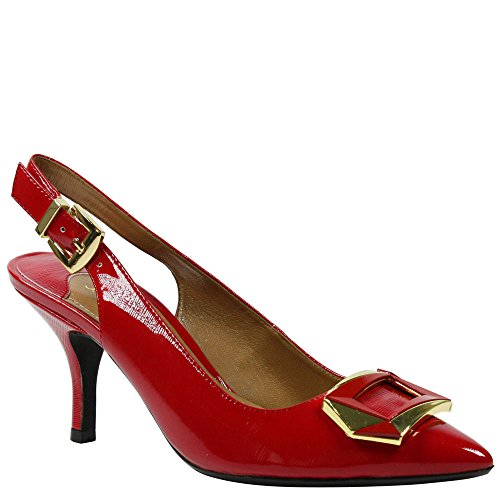 J.Renee Women's Lloret Pointed Toe Slingback,True Red Crinkle Patent,US 7.5 (Red Slingback Pump)