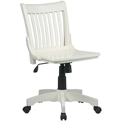 Wood Banker's Office Chair in Antique White ()