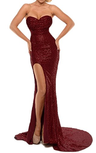 BEAUTBRIDE Women's Sexy Strapless Mermaid Evening Dress with Slit 2018 New Burgundy B 10 (Take Evening Strapless Dress 5)