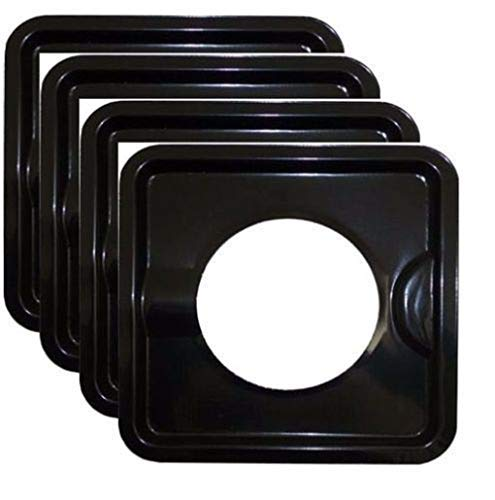 New Mandycng Heavy Duty Black Steel Square Reusable Gas Burner BIB Liner Covers 8 Set of 4