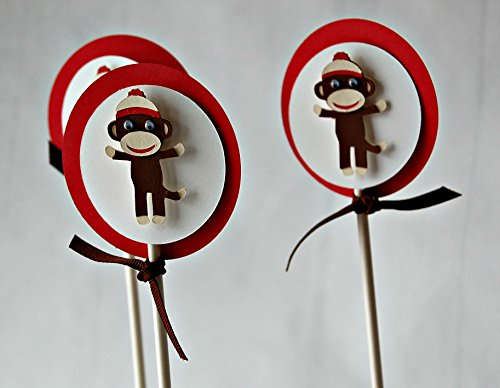 Sock Monkey Party Cupcake Toppers (set of 12)